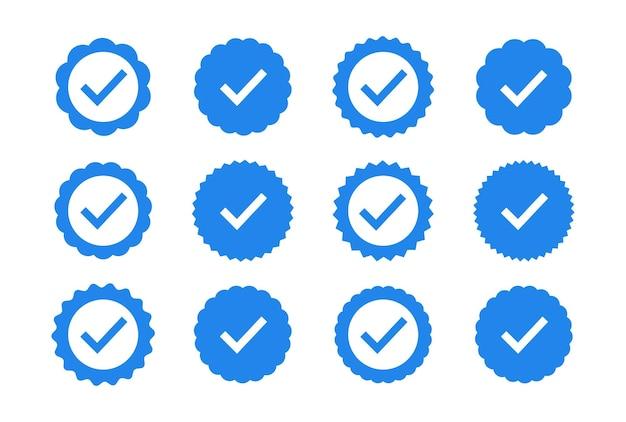 Set van kwaliteit iconen. blauwe platte stervorm stickers. profiel verificatie teken. vector badges van garantie, goedkeuring, accepteren en kwaliteit. platte vector vinkje.