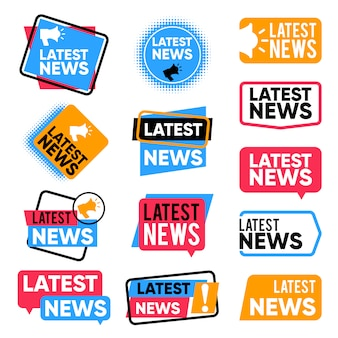 Set van laatste nieuwslabels. informatie promotionele woorden. nieuwsbrief aankondiging vector