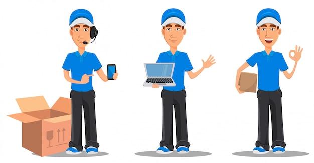 Set van lachende levering man in blauw uniform