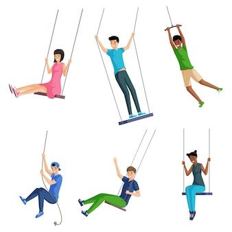 Set van lachende mensen die op touwschommels slingeren. zomervakantie en vakantie concept.