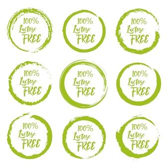 Set van lactose gratis grunge label sticker op een witte achtergrond