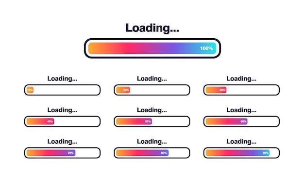 Set van laden bar vectorillustratie. voortgang visualisatie. statusverzameling laden. webdesignelementen, infographic vectorsjabloon laden