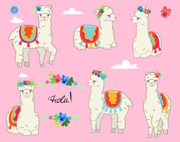 Set van lama's in het voorjaar