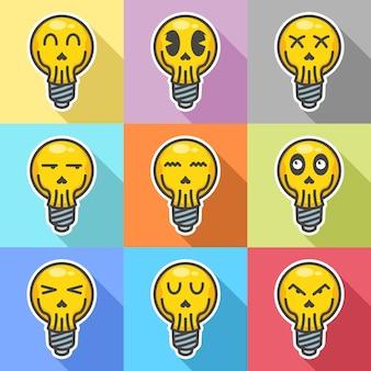 Set van lamp met schedel gezicht expressie cartoon afbeelding plat
