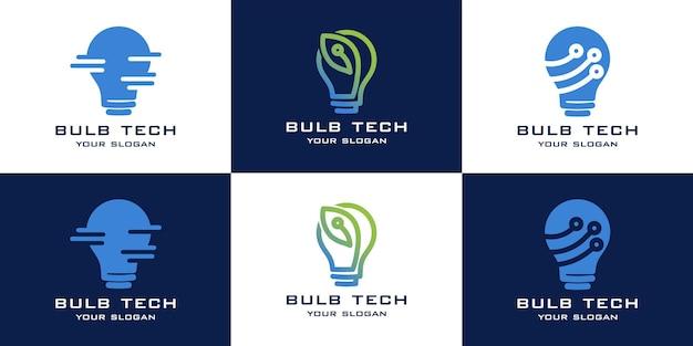 Set van lamp technologie logo collectie