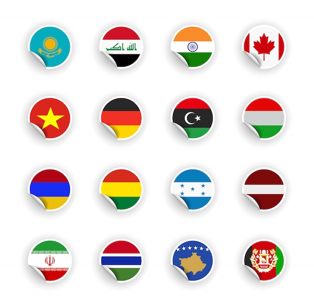 Set van land vlag in stickers