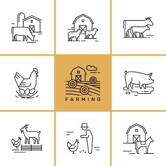 Set van landbouw- en boerderij dieren illustraties