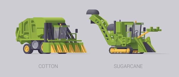 Set van landbouwmachine geïsoleerd op grijs