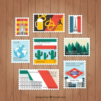 Set van landen tag in plat design