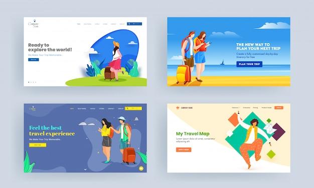 Set van landing pagina-ontwerp met toerisme karakter op abstracte achtergrond voor reizen concept.
