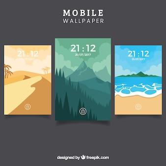 Set van landschap wallpapers voor mobiel