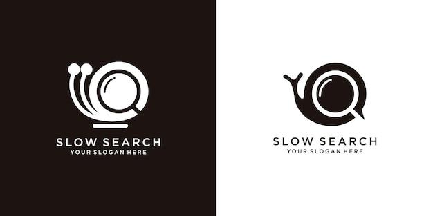 Set van langzame zoekcombinatie slak met vergrootglas, logo-ontwerpsjabloon premium vector