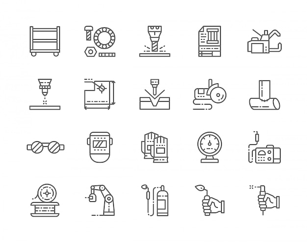 Set van lassen lijn iconen