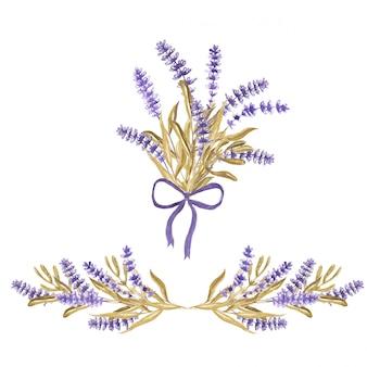 Set van lavendel bloemstuk en boeket