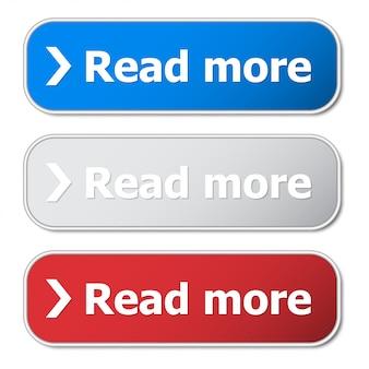 Set van lees meer knop met metalen frame en schaduw