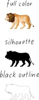 Set van leeuw in kleur, silhouet en zwarte omtrek op witte achtergrond