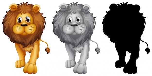 Set van leeuw karakter