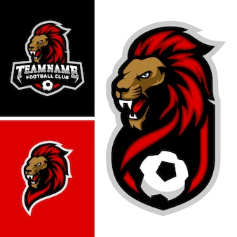 Set van leeuwen hoofd mascotte logo voor het voetbalteam logo. .
