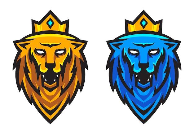 Set van leeuwenkop met kroon vectorillustratie