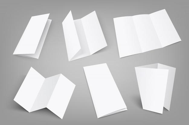 Set van lege drievoudige flyer met cover op grijs