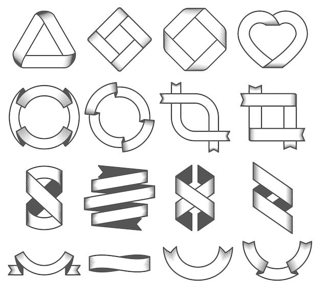 Set van lege emblemen