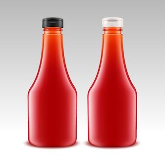 Set van lege glazen plastic rode tomatenketchup fles voor branding
