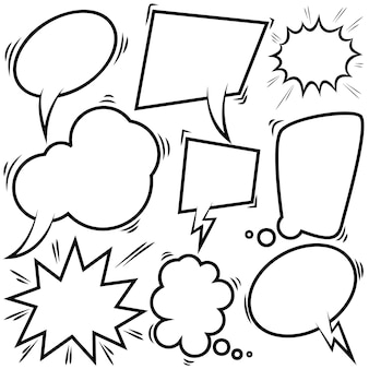 Set van lege komische tekstballonnen. ontwerpelement voor poster, kaart, banner, flyer. vector illustratie