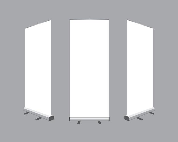 Set van lege oprollen banners weergave sjabloon geïsoleerd op een grijze achtergrond.