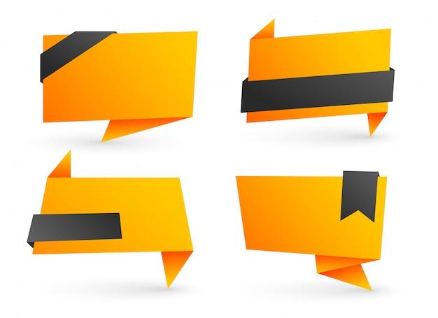 Set van lege origami banners
