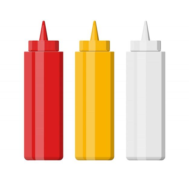 Set van lege plastic flessen voor fast food
