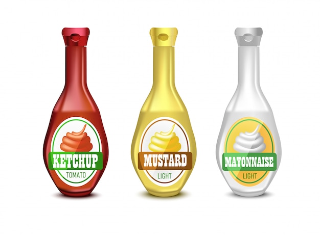 Set van lege plastic mayonaise, mosterd en ketchupfles voor branding met label