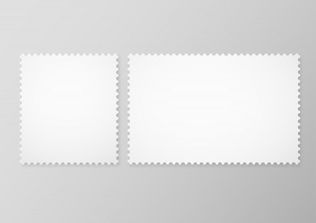 Set van lege postzegels geïsoleerd op een grijze achtergrond. lege postzegels frames