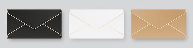 Set van lege realistische enveloppen mockup. geïsoleerd. sjabloonontwerp. realistische afbeelding.