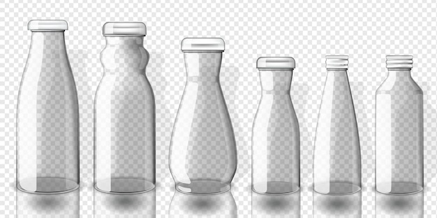 Set van lege sap flessen mockup