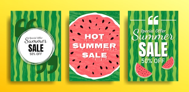 Set van lege sjablonen met zomerthema's op een watermeloenachtergrond. ontwerp van reclamebanners. illustraties voor websites en mobiele websites, e-mailontwerp, posters, promotiemateriaal