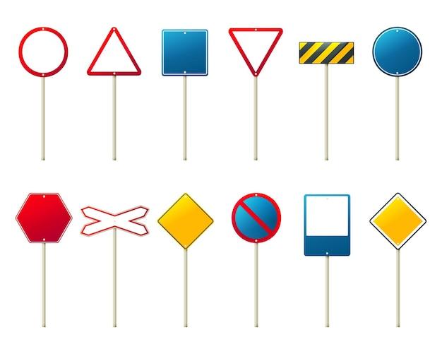 Set van lege sjabloon voor straat of verkeersbord