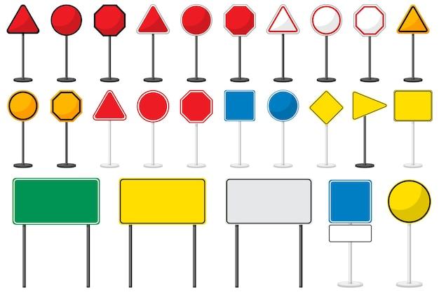 Set van lege verkeersborden met standaard geïsoleerd op wit