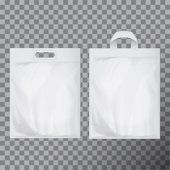 Set van lege witte lege plastic zak. consumentenpakket klaar voor presentatie van logo of identiteit. handvat voor voedselverpakkingen in de handel