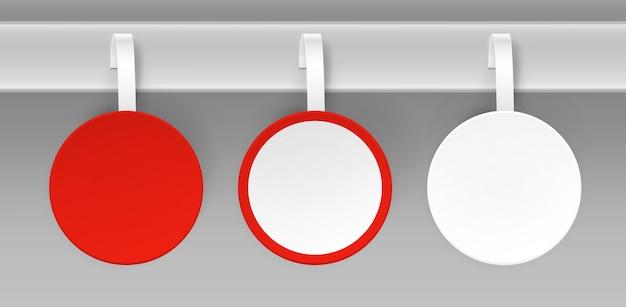 Set van lege witte rode ronde papper kunststof reclame prijs wobbler vooraanzicht op achtergrond