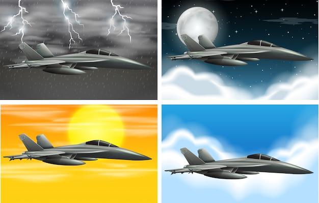 Set van legervliegtuig op verschillende weer