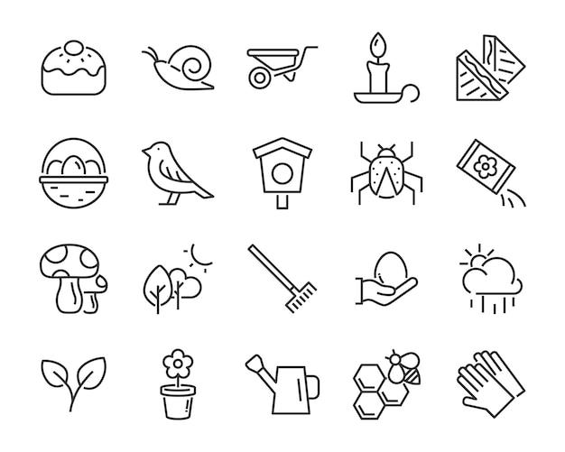 Set van lente pictogrammen, oogst, boerderij, pasen, bloem, regen, tuin