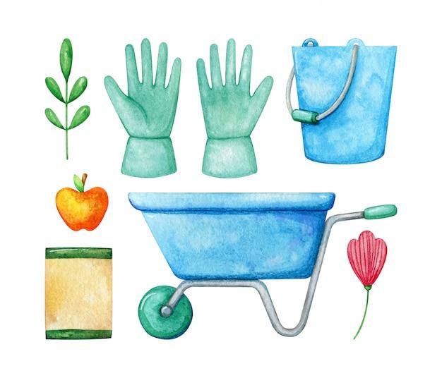 Set van lente planten en tuingereedschap. collectie omvat handschoenen, trolley, planten, zadenpakket. aquarel lente tuinieren.