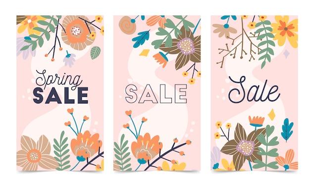 Set van lentebloemen vector sjabloon voor instagram post, verhalen