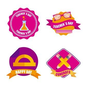 Set van leraren dagviering badge decoratie