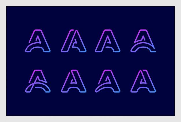 Set van letter a logo ontwerp in lijn kunststijl premium vector. logo's kunnen worden gebruikt voor zaken, branding, identiteit, bedrijf, bedrijf.