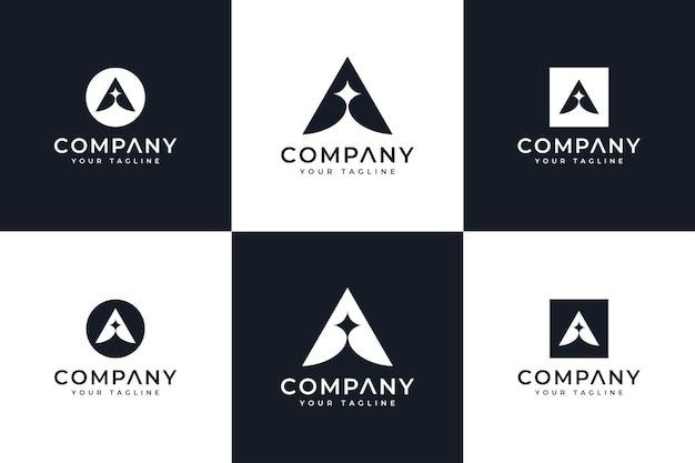 Set van letter a spark logo creatief ontwerp voor alle toepassingen