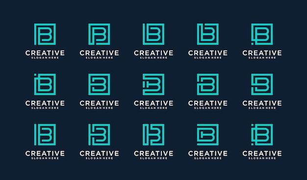 Set van letter b-logo in vierkante stijl