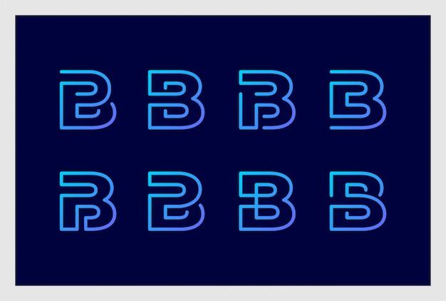 Set van letter b logo ontwerp in lijn kunststijl premium vector. logo's kunnen worden gebruikt voor zaken, branding, identiteit, bedrijf, bedrijf.