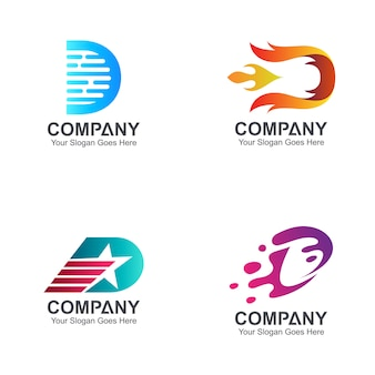 Set van letter d logo sjabloon