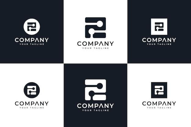 Set van letter e dot logo creatief ontwerp voor alle toepassingen